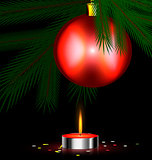 red festive candle