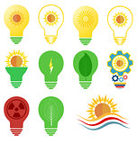 Vector logo and icons set energy and sun power theme