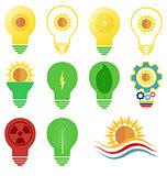 Vector logo and icons set energy and sun power theme