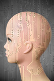 Female cyborg head on dark gray background