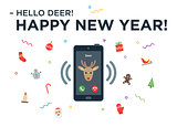 Christmas Reindeer incoming phone call with lettering Happy New Year and design elements
