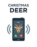 Concept of personalized phone call from Christmas Deer. Isolated on white