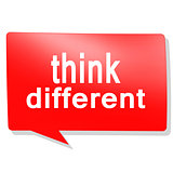 Think different word on red speech bubble