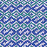 Knitted Seamless Pattern in Blue, Green and Gray