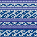 Knitted Seamless Pattern in Blue, Violet and Gray