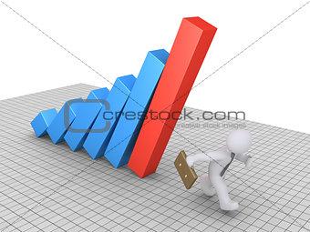 Businessman avoiding graph