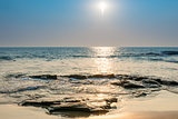 seascape. bright sun on the surface of the sea