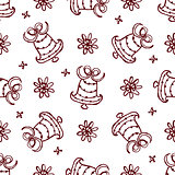 Christmas seamless pattern with bells