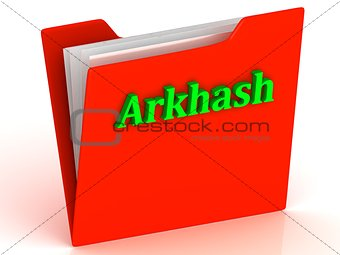Arkhash- bright green letters on a gold folder