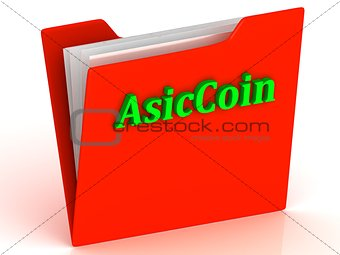 AsicCoin- bright green letters on a gold folder