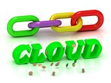 CLOUD- inscription of bright letters and color chain