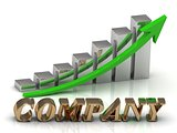 COMPANY- inscription of gold letters and Graphic growth