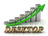 DESKTOP- inscription of gold letters and Graphic growth