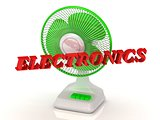ELECTRONICS- Green Fan propeller and bright color letters