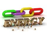 ENERGY- inscription of bright letters and color chain