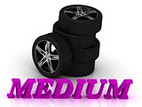 MEDIUM- bright letters and rims mashine black wheels
