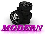 MODERN- bright letters and rims mashine black wheels