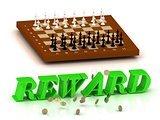 REWARD- inscription of green letters and chess on