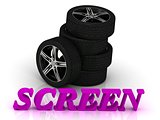 SCREEN- bright letters and rims mashine black wheels