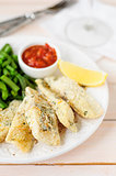 Lemon Semolina Crusted Fish Fries with Green Beans and Marinara
