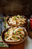 Fried Squid with Onions and Chives, vintage effect, copy space f