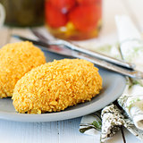 Cornflake Crusted Chicken Patties Stuffed with Cheese (Zrazy)