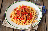 Cellentani Pasta with Minced Beef, Tomato and Capsicum Sauce