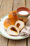 Bread Rolls Filled with Pumpkin and Feta with a Cup of Milk, cop