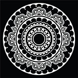 Mehndi, Indian Henna floral tattoo white round pattern on black
