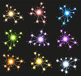 Set fireworks sparkler on black background