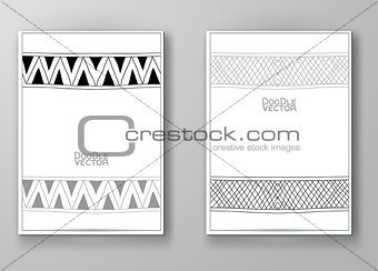 Brochure with Hand Drawn Doodle Border.
