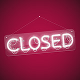 White Glowing Neon Closed Sign