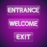 White Glowing Neon Entrance Signs