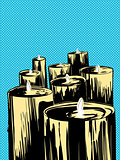 Group of Candles Over Blue