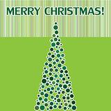 Merry Christmas postcard with fir.