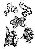Different kinds of fish and larvaes