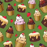 Seamless pattern with cherry cupcakes
