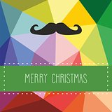 Christmas vector card with mustache and Merry Christmas wishes