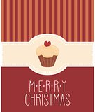 Christmas vector card with cupcake and Merry Christmas wishes