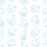 Cream cake seamless white pattern