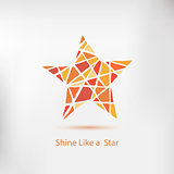 Shine like a star. Handdrawn star, vector element