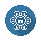 Group Security Icon. Flat Design.