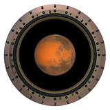 Red Planet In The Spacecraft Porthole