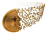 Bitcoin Falling Apart To Digits On White Background