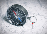 Compass Over Map And Red Pin