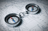 Two Linked Compass On The Map