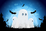 Halloween Background with Moon and Ghosts