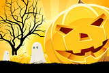 Halloween Background with Pumpkin and Ghost