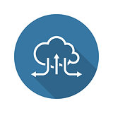 Online Cloud Solutions. Flat Design Icon. Long Shadow.