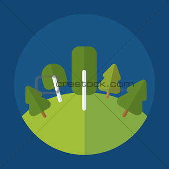 forest icon on round blue background